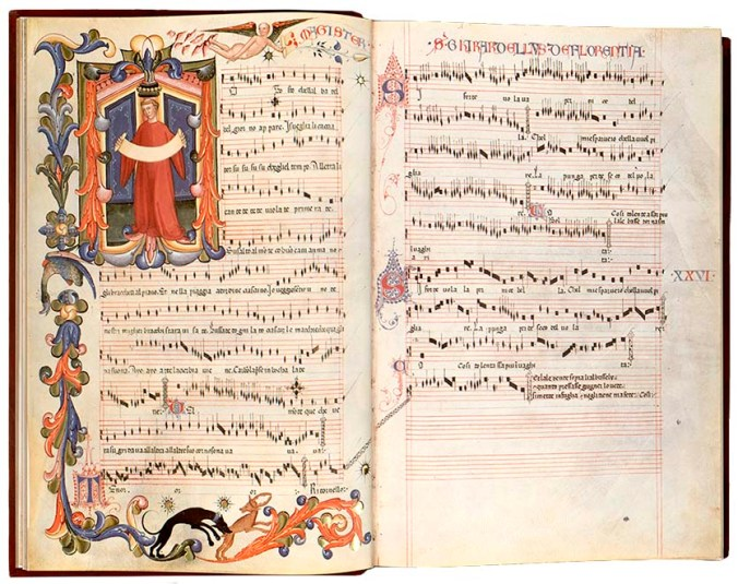 There are a lot of caccia music pieces in this Squarcialupi Codex.